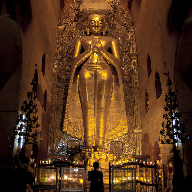 """Buddha inside Ananda temple, Bagan, Myanmar."" stock image"