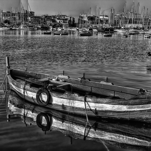 """Ortigia Sicily Italy harbor B W"" stock image"