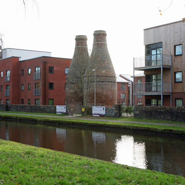 """Preserved bottle ovens or kilns at the former Twyfords Pottery Shelton, Stoke-on-Trent, Staffs, England, UK"" stock image"