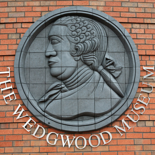 """A plaque on the wall of the Wedgwood Museum, Barlaston, Stoke-on-Trent"" stock image"