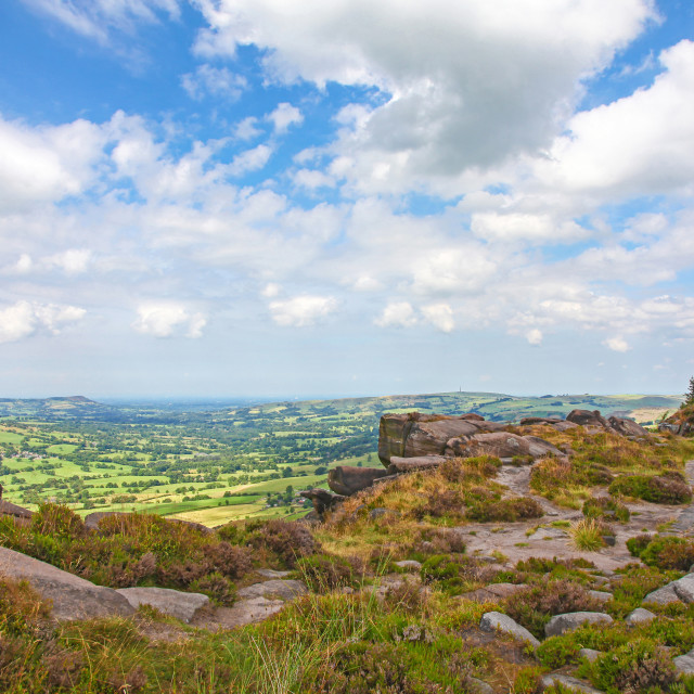 """The view over the Staffordshire and Cheshire plains from on top of The Roaches Staffordshire England UK"" stock image"