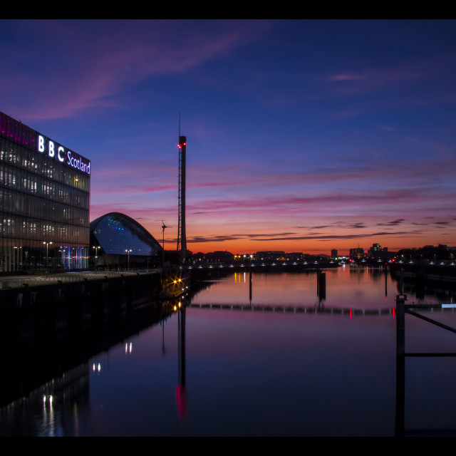 """Red sky sunset Glasgow"" stock image"