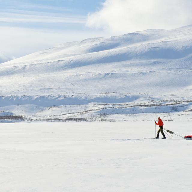 """skiing over lake"" stock image"