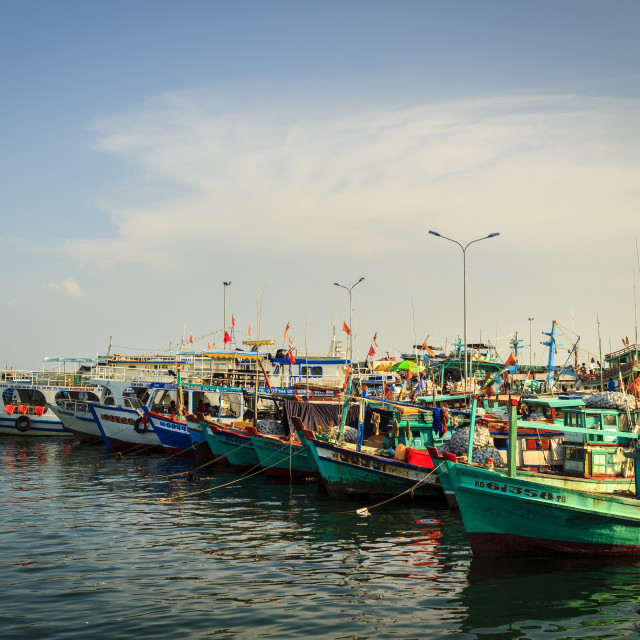 """Fishisng boats in the harbor"" stock image"
