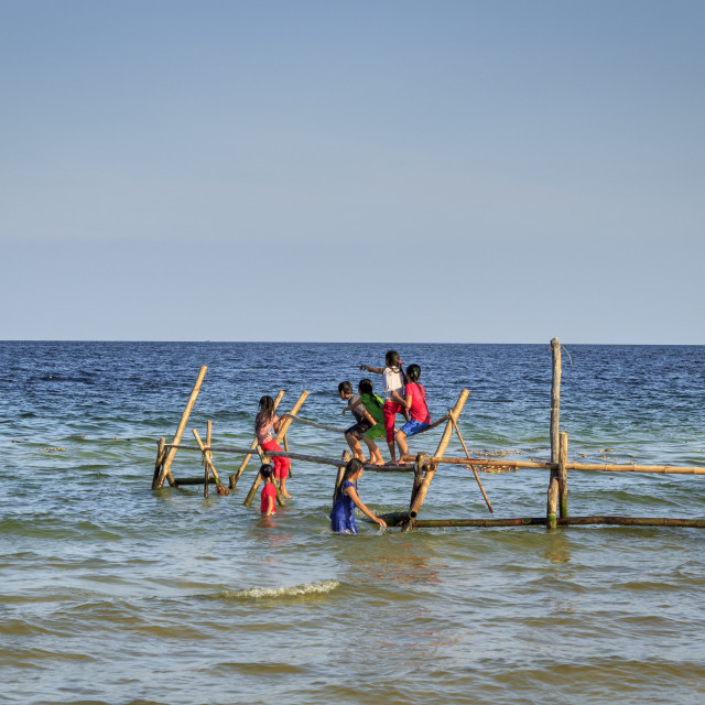 """""""Happy children on beach"""" stock image"""