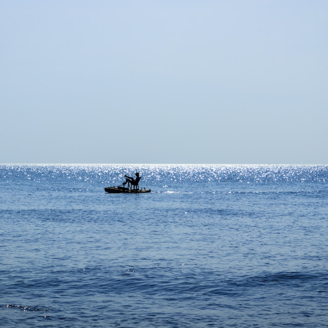 """Pedal boat alone at the sea"" stock image"
