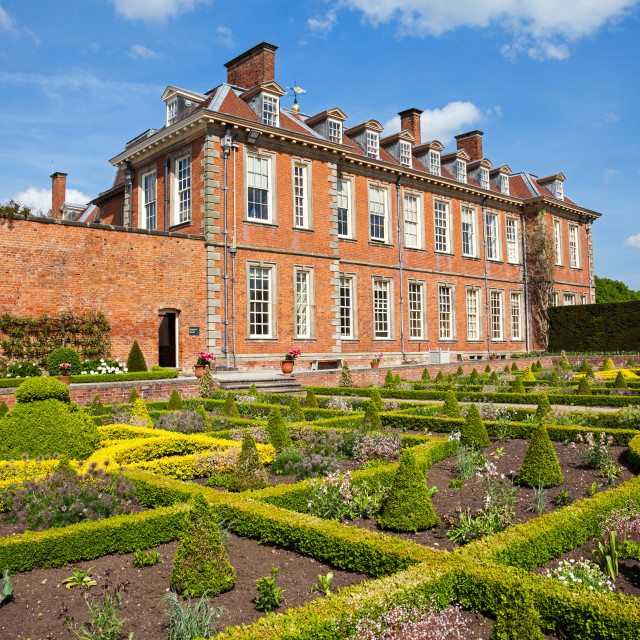 """The parterre garden at Hanbury Hall stately home country house Droitwich Spa Worcestershire England UK"" stock image"
