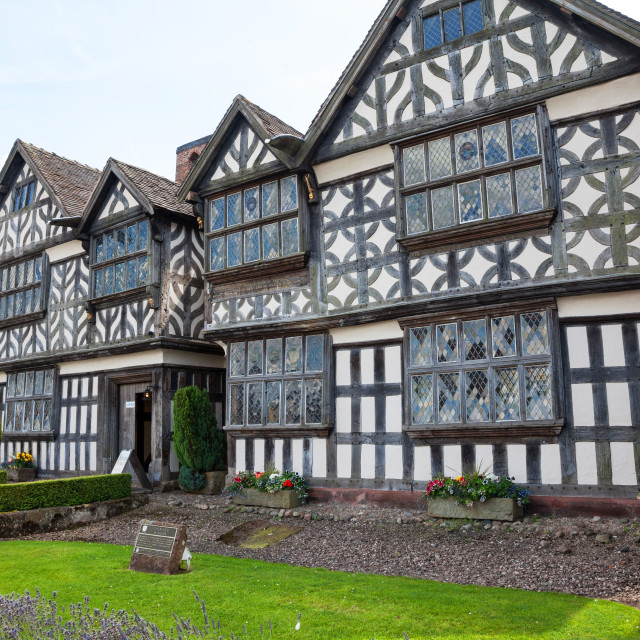 """Churche's Mansion is a timber-framed, black-and-white Elizabethan mansion house at the eastern end of Hospital Street in Nantwich, Cheshire, England."" stock image"