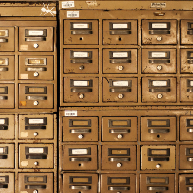"""Old Disused Filing Cabinets"" stock image"