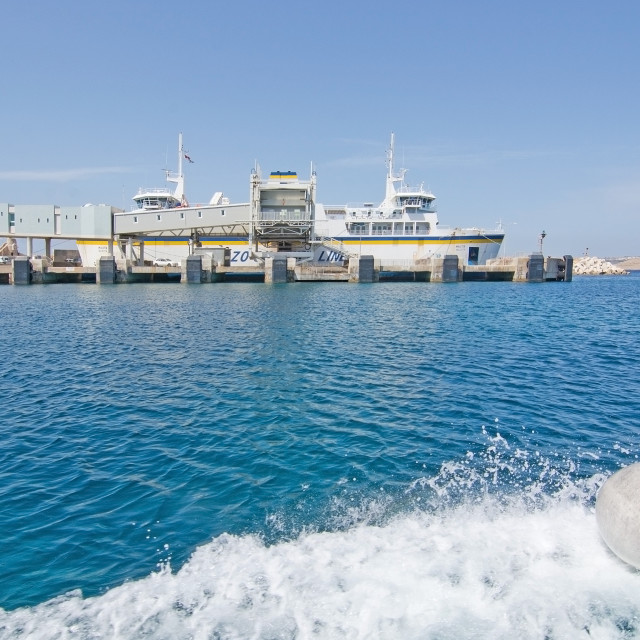 """""""Ferry boat moored in the terminal to Gozo"""" stock image"""