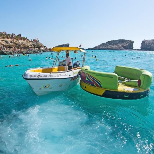 """Blue Lagoon boats Malta"" stock image"
