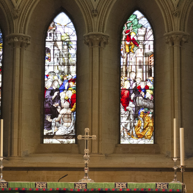 """""""Stained Glass Window, Southwell Minster, Southwell, Nottinghamsh"""" stock image"""