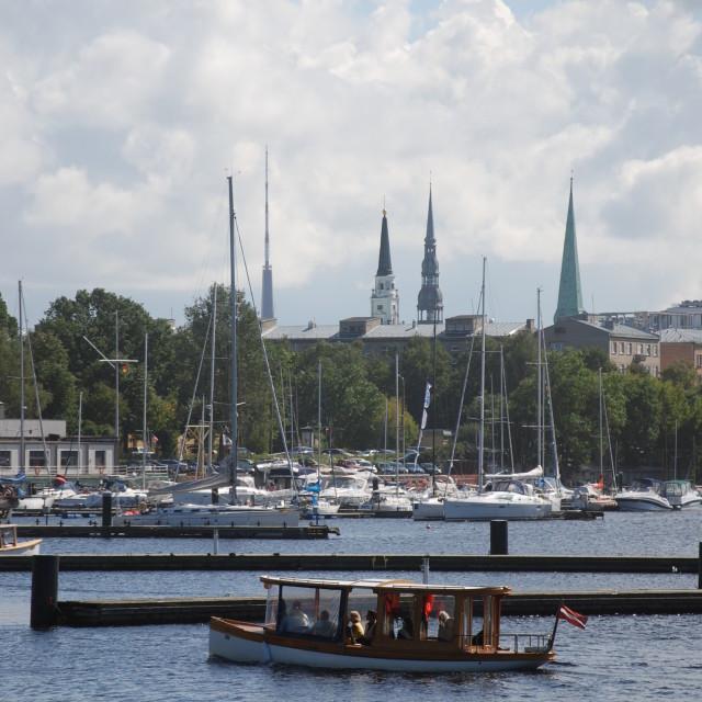 """""""Yacht marina near Andrejsala, Riga"""" stock image"""