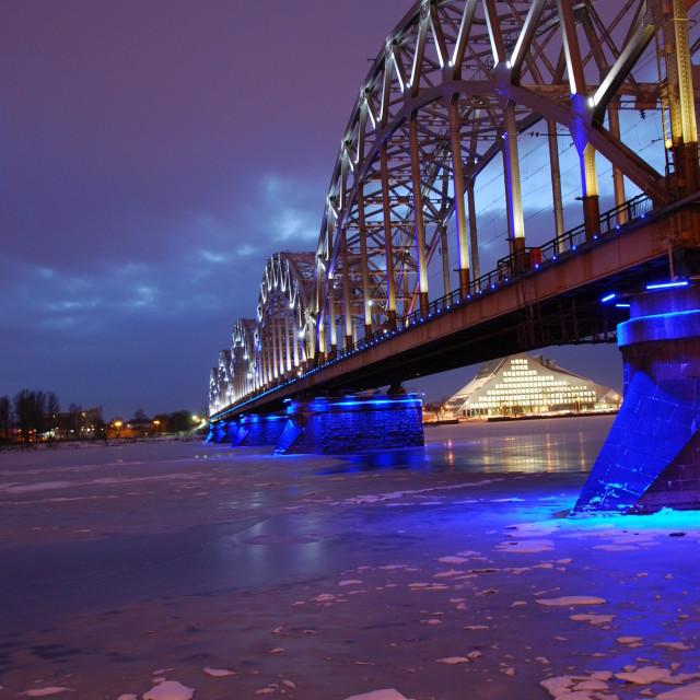 """Train Bridge and National Library, Riga"" stock image"