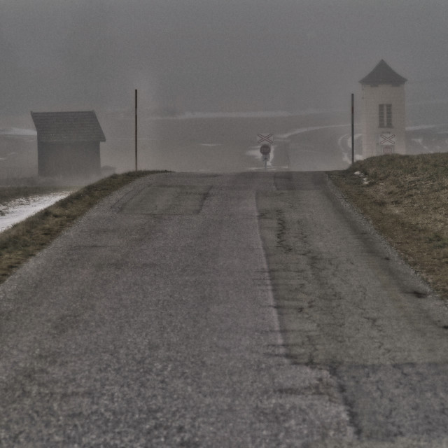 """Foggy crossing"" stock image"