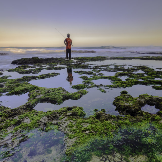 """""""sun waves mossy and fisherman"""" stock image"""