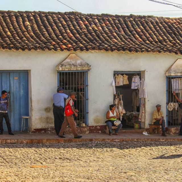 """""""Private shops on a street in Trinidad, Cuba"""" stock image"""