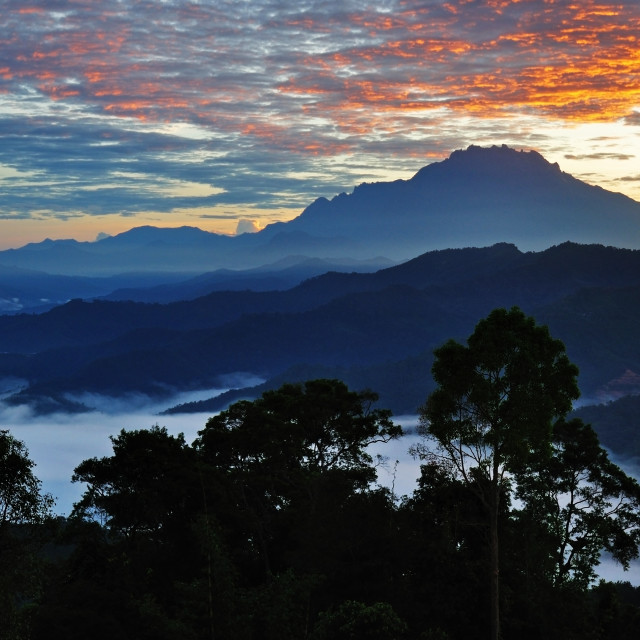 """Sunrise over Mt. Kinabalu, Kota Kinabalu Sabah Borneo"" stock image"