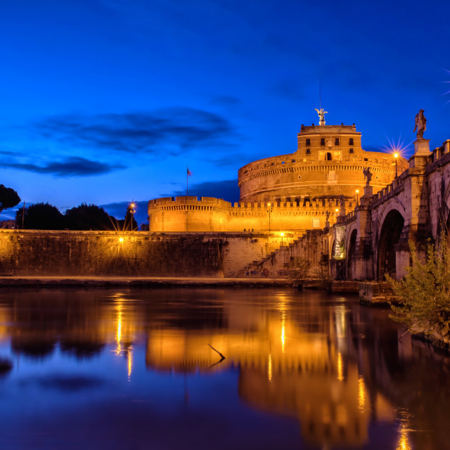 """Castel Sant'Angelo in Rome by night"" stock image"