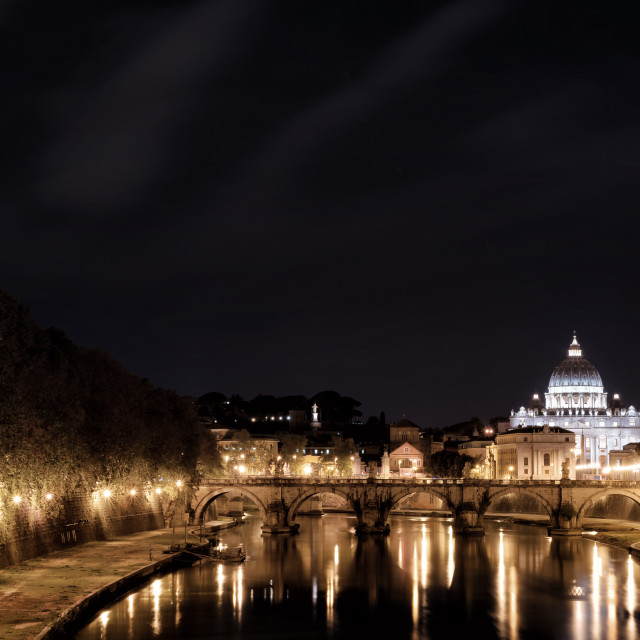 """Rome, Tiber, St. Peter Basilica by night"" stock image"