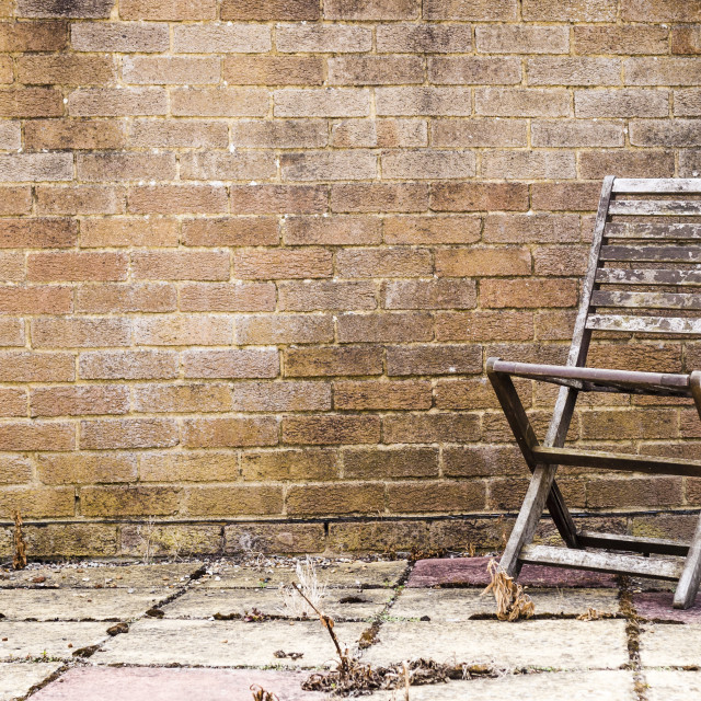 """A Weathered Garden Chair on an Overgrown Patio"" stock image"
