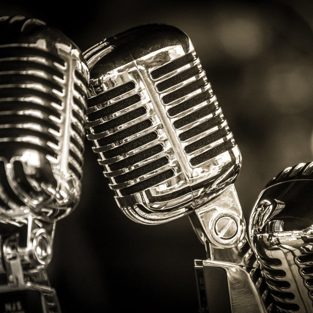 """retro microphone closeup"" stock image"