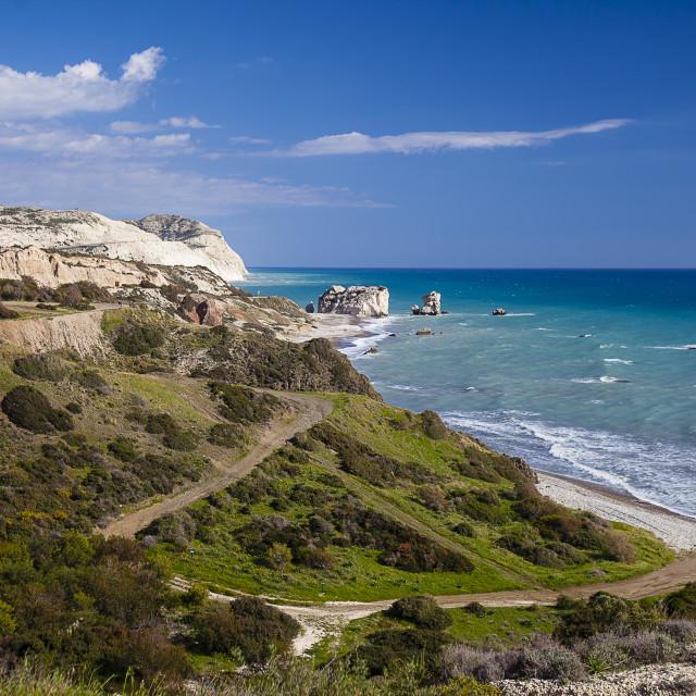 """Petra tou Romiou beach Cyprus island Panorama"" stock image"