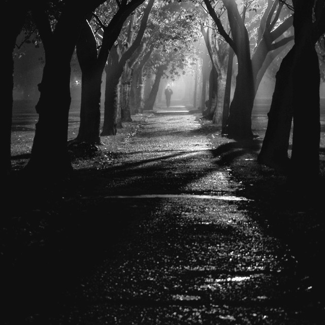"""Foggy Night in Edinburgh"" stock image"