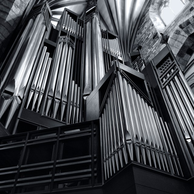 """Organ Pipes at St Giles Cathedral Edinburgh"" stock image"