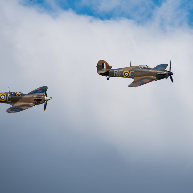 """Spitfire and Hurricane"" stock image"