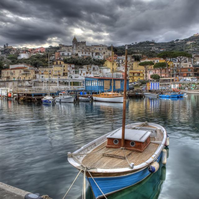 """Massa Lubrense, italian fishing village, Harbour HDR"" stock image"