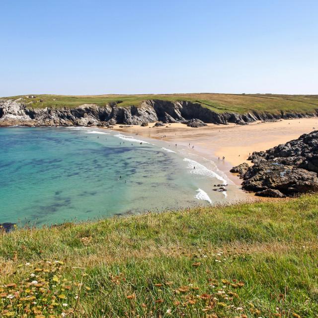 """Porth Joke or Polly Joke beach near to Crantock Cornwall South West England UK"" stock image"