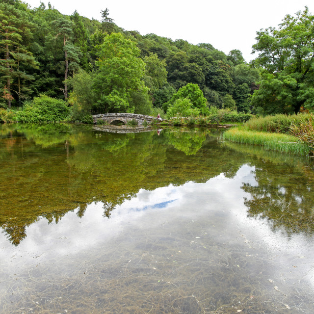 """A trout pool, River Bradford, Bradford Dale, Youlgreave or Youlgrave, Derbyshire, Peak District National Park, England, UK"" stock image"