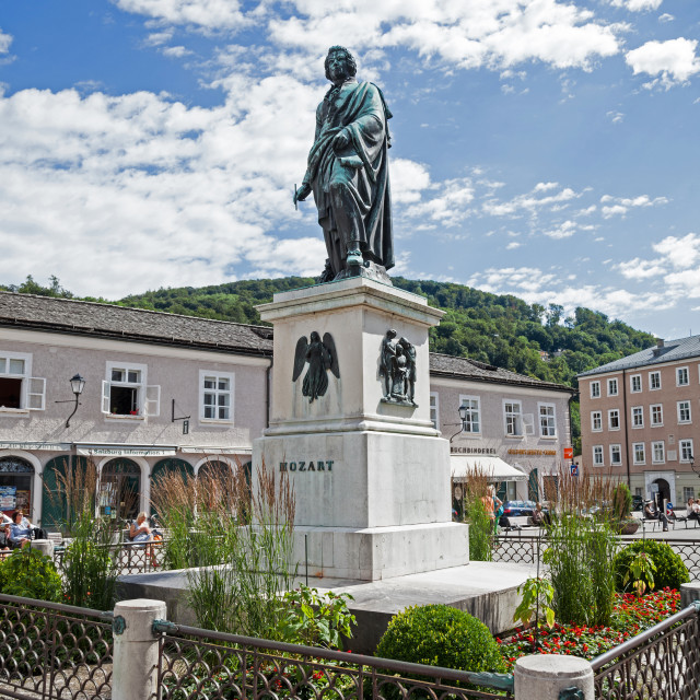 """""""A statue or monument to the composer Mozart at Salzburg Austria Europe"""" stock image"""