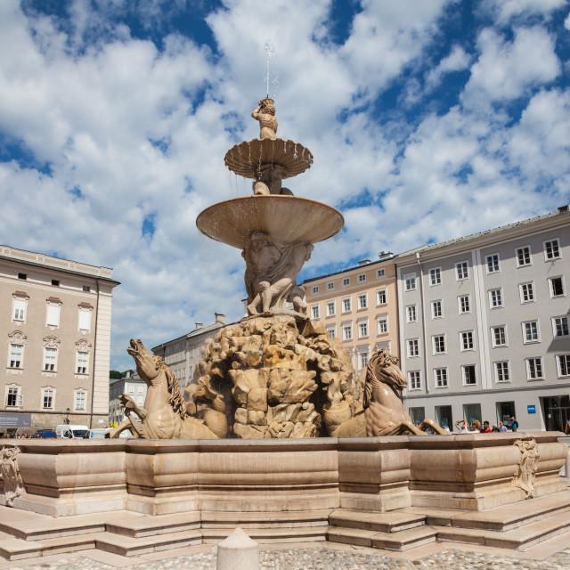 """Residenz Fountain Residenzplatz historic centre center Altstadt square Salzburg Austria Europe"" stock image"