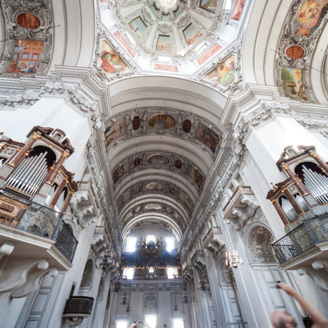 """""""People photographing the interior of Salzburg Cathedral Austria Europe"""" stock image"""