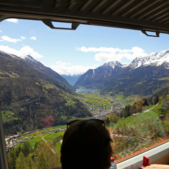 """""""View of the Swiss Alps from the window of the Bernina Express train"""" stock image"""