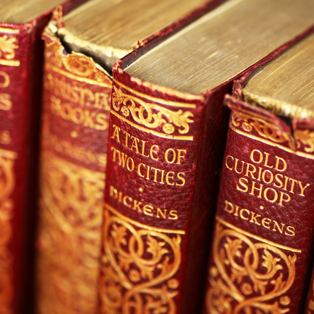 """Old Leather bound books the works of Charles Dickens"" stock image"