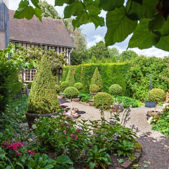 """Wollerton Old Hall Gardens garden Wollerton Market Drayton Shropshire England UK"" stock image"