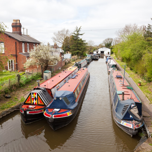 """""""Narrow boats or barges at Norbury Junction on the Shropshire Union Canal Norbury near to Stafford Staffordshire England UK"""" stock image"""