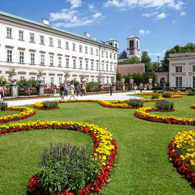 """""""The colourful flower beds and the Palace or Schloss at Mirabell Gardens Salzburg Austria Europe"""" stock image"""