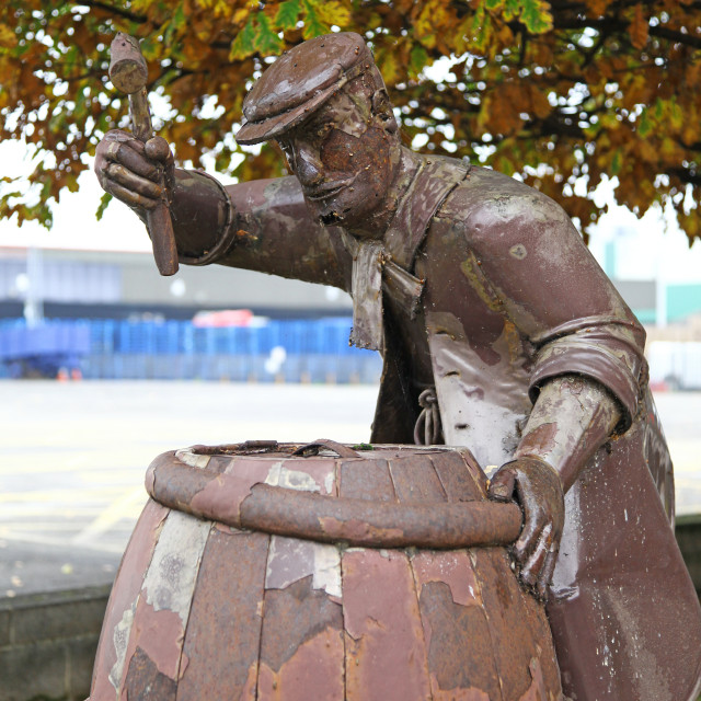 """Statue of a cooper or barrel maker National Brewery Centre Burton upon Trent Staffordshire Staffs England UK"" stock image"