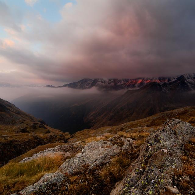 """Sunrise on Camonica Valley"" stock image"