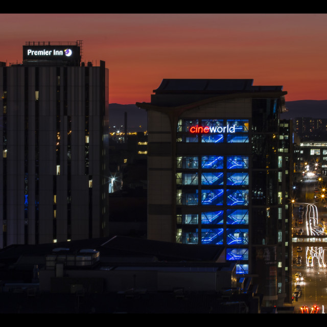 """""""Glasgow at dusk"""" stock image"""