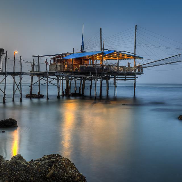 """""""Trabucco (house for fishing) Fossacesia Marina Chieti Italy sunset"""" stock image"""