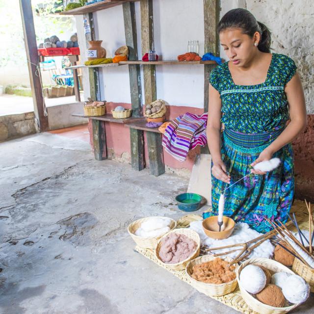 """Peruvian man weaving"" stock image"