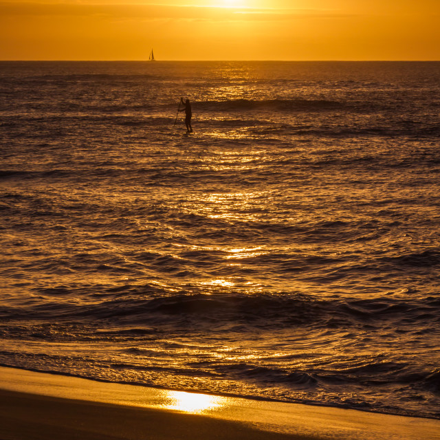 """Golden Sunset on the beach"" stock image"