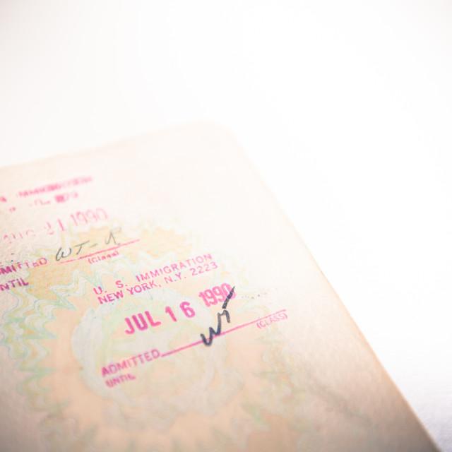 """Usa immigration stamp on old european passport"" stock image"