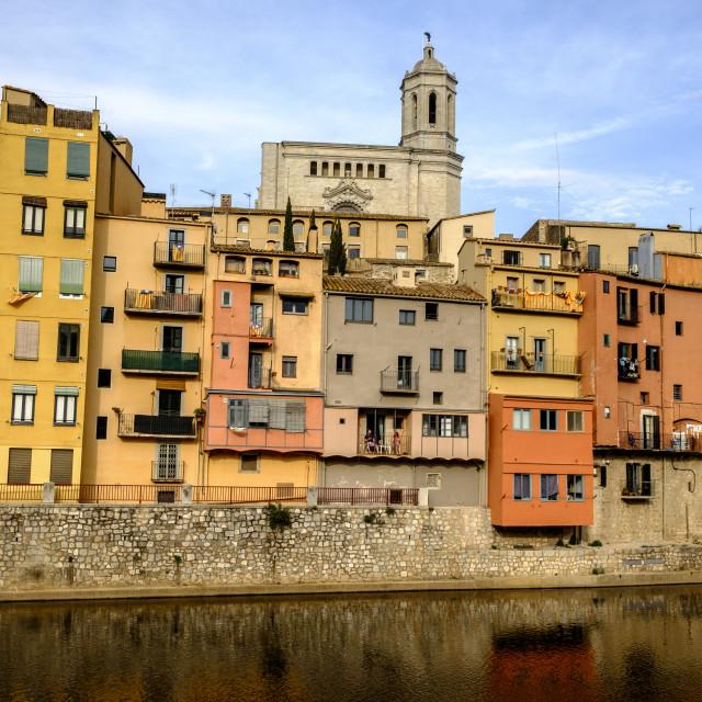 """Onyar river at Girona"" stock image"