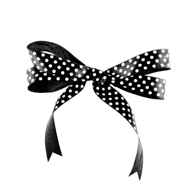 """""""Black and white ribbon with a bow on a white background"""" stock image"""